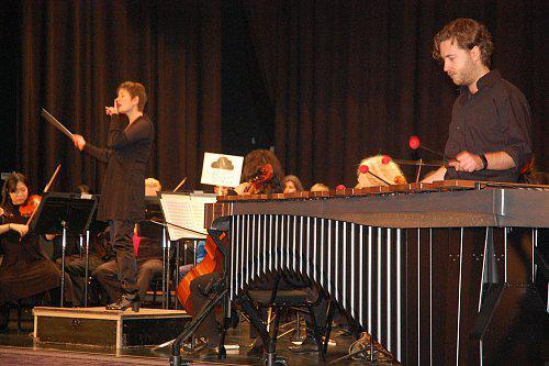 Ein ungewöhnliches Instrument: Das Marimbaphon kam bei einem Debussy-Stück, gespielt von Aron Leijendeckers, zum Einsatz.